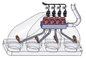 Схематическое изображение форсунок
